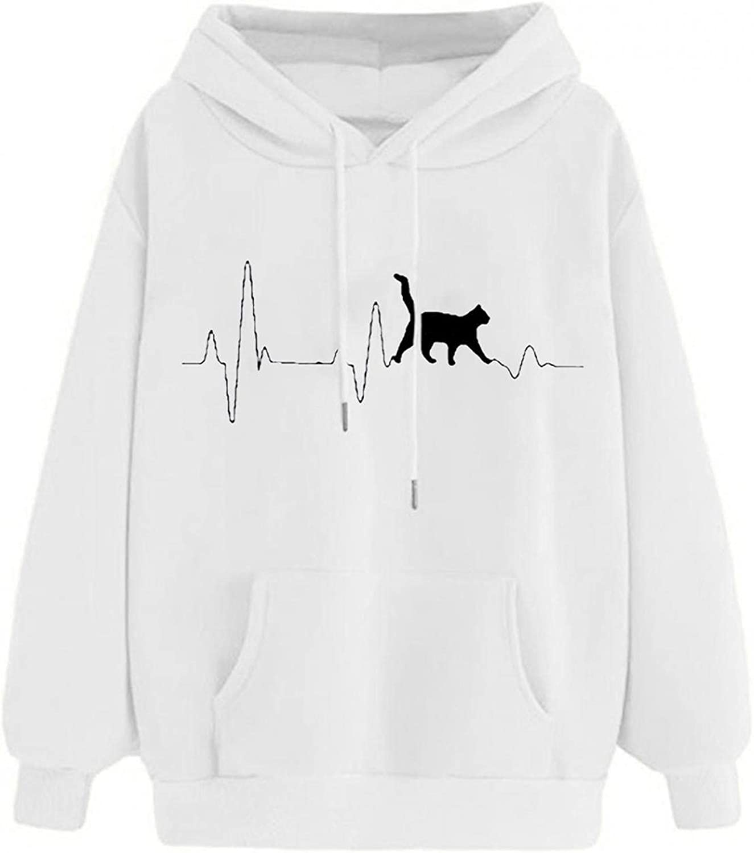 Aniwood Sweatshirts for Women, Womens Long Sleeve Cute Cat Print Hooded Sweatshirts Teen Girls Casual Loose Tops Shirts