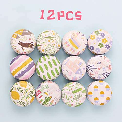 FineInno 12PCS Petite Boite de Rangement Candy Box Pot de bougie Boite Metallique Vintage en Fer Ronde a Bijoux,Boite Biscuits Avec Couvercle (Dessin animé)