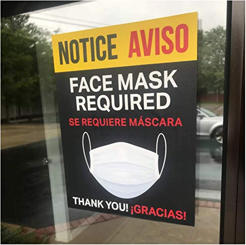 Bilingual Face Mask Required Sign - Se Requiere Mascara Door and Window Decal - 8.5' x 11' Removable Vinyl Decal (5 per Pack)