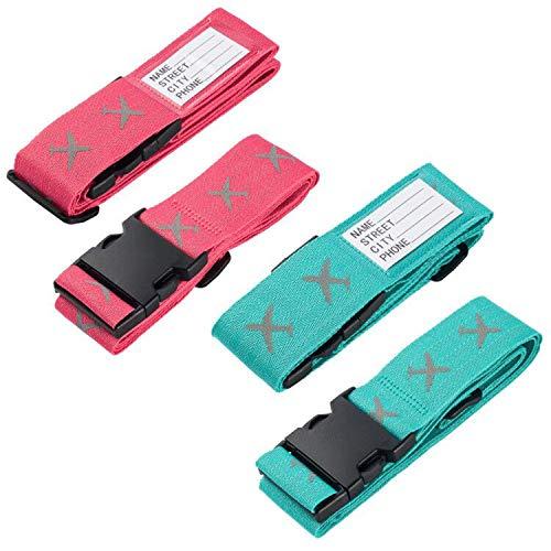 FORMIZON Correas de Equipaje, 4 Pack Heavy Duty Cruz Equipaje Maleta Ajustables de Equipaje de Viaje Cinturones con Ranura para Etiquetas de Identificación Accessorios de Viaje