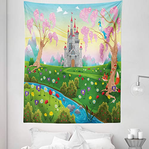 """Lunarable Cartoon Tapestry Twin Size, Fairy Tale Castle Scenery in Floral Garden Princess Kids Girls Fantasy Picture, Wall Hanging Bedspread Bed Cover Wall Decor, 68"""" X 88"""", Pink Blue"""