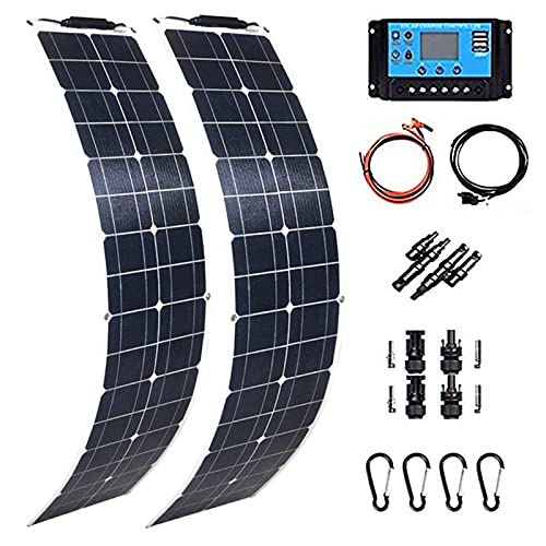 400 Watt Solar Panel Module kit 2 X 200W PET Flexible Solar Panels Portable Monocrystalline Solar Battery Charger with 40A Controller Bendable Solar Panel for Home RV Caravan Boat and Other Battery