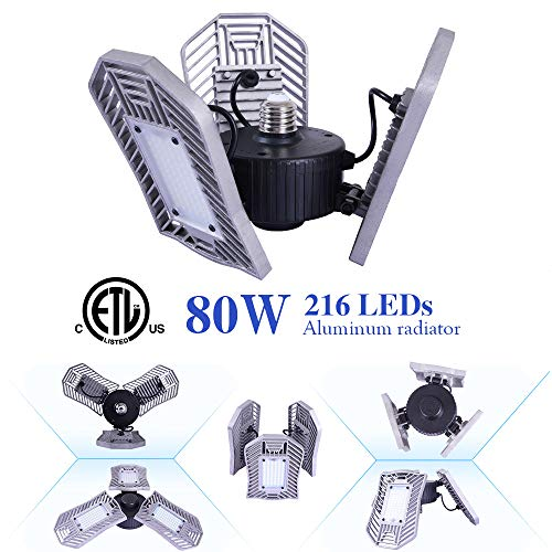 NATHOME led Garage Lights,80W Garage Lighting,216 LEDs ETL/E26 8000lm AC110V/deformable Three Leaf Garage Light,Indoor use for Led Shop Lights,Workshop Light,Garage Work Lights (Daylight,