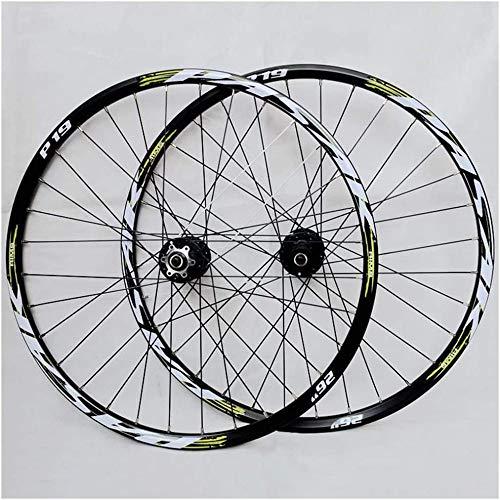 Juego De Ruedas De Bicicleta MTB 26/27.5 Pulgadas Llanta De Aleación De Doble Pared Buje De Cassette Cojinete Sellado QR Freno De Disco 24 Agujeros 7-11 Velocidad,Green-26in