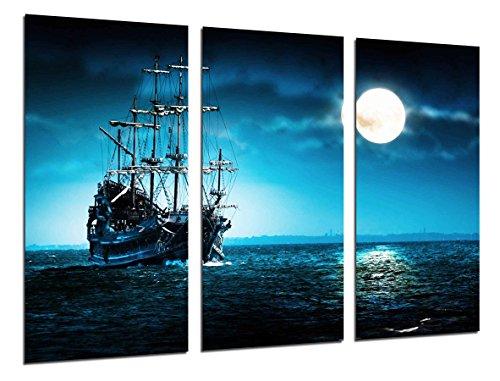 Poster Fotográfico Barco Antiguo de Vela, Carabela, Guerra, Mar Atardecer Tamaño total: 97 x 62 cm XXL