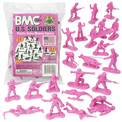 BMC Plastic Army Women - 36pc Pink Female Soldier Figures - Made in USA