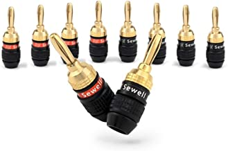 Sewell Deadbolt Banana Plugs with Fast-Lock Technology, 5 Pair (10 Pieces)