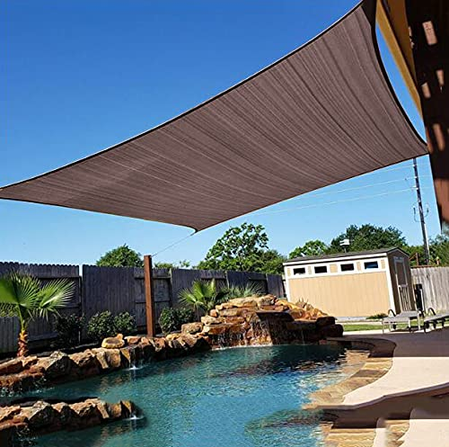 U/D Toldo de protección solar, resistente al desgarro, 80 % protección solar, para jardín, playa, terraza, marrón, 3,6 x 3,6 m