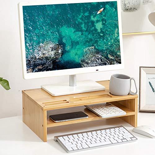 Organizador De Escritorio, Soporte De Monitor De Bambú Soporte De Pantalla Elevador De Doble Capa Organizador De Escritorio Para Computadora Portátil Para Proyector De Impresora Plana,Wood color
