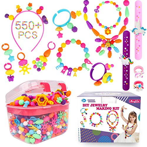 Pop Beads - 550+Pcs DIY Jewelry Making Kit for Toddlers 3, 4, 5, 6, 7 ,8 Year...