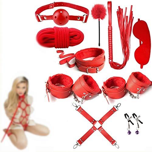 forocean Red Seexy 10 Piezas Juguetes Cuero B Leatherndage Sets Kits Seex Cosas para Parejas Amantes Juegos