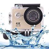 LZ LZ H9 4K Ultra HD1080P 12MP 2 Pulgadas de Pantalla LCD de la cámara de WiFi Deportes, 170 Grados Lente Gran Angular, 30m Impermeable (Negro) (Color : Gold)