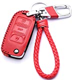 WAFERN Red Leather Cover Etui Shell for Volkswagen VW Skoda Seat 3-Button Keyless Entry Remote Flip Car Key Fob Holder Protective Case Bag with Braided Key Chain & Key Rings Auto Accessories Gifts