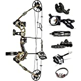 VzHunter Archery Hunting Compound Bow- Limbs Made in USA, Adjustable for Adults and Youth 30-70 lbs with IBO Rating up to 320fps, Let-Off 75%, Right Hand.