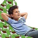 ABAKUHAUS Perros Bolsa para Juguetes Tipo Tumbona, Los cachorros marrón y blanco, Organizador de Peluches Gran Capacidad con Manija, Manzana verde Brown