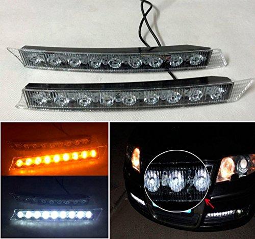 CHAMPLED® 2x 9 LED Daytime Running Driving DRL Turn Signal Light Amber Yellow White 9W 12V For BMW M BENZ AUDI VW VOLKSWAGEN VOLVO JAGUAR PORSCHE