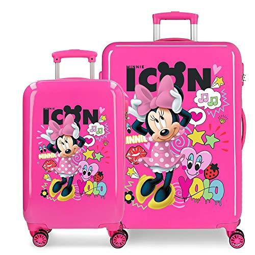Disney Enjoy Minnie Icon Kofferset Rosa 55/68 cms Hartschalen ABS Kombinationsschloss 104L 4 Doppelräder Handgepäck