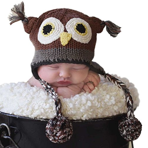 Price comparison product image Huggalugs Baby and Toddler Boys or Girls Barn Owl Beanie Hat Small Brown
