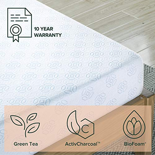 Zinus 6 Inch Gel-Infused Green Tea Memory Foam Mattress / Cooling Gel Foam / Pressure Relieving / CertiPUR-US Certified / Bed-in-a-Box, Short Queen