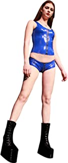 no-branded Latex Rubber Clubwear Crotch Zip Short Pants for Women LCMUS (Color : Red, Size : S)