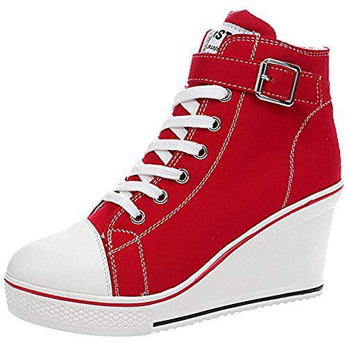 ALLINNINE Zapatillas de deporte para mujer, de tacón alto, de moda, de lona, de tubo alto, con cordones, con borde de cuña, con cremallera, ángulo, talla 4-11, rojo (Rojo), 43 EU