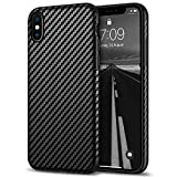 Tasikar Compatible with iPhone X Case/iPhone Xs Case Good Grip Slim Carbon Fiber Leather Case - Black