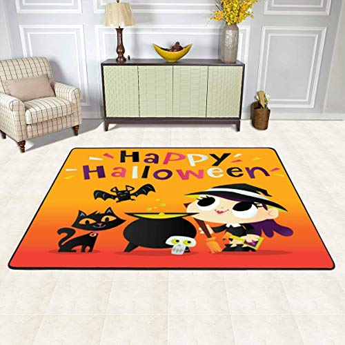 Rug Pad Super Cute Halloween Witch Magic Cauldron Stock Illustration Play Mat Indoor Area Rugs Floor Baby Crawling Mat Non-Slip Carpet for Living Room/Bedroom/Hallway Home Decoration (3 x 4 Ft)