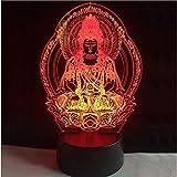 3D ilusión led Luz de noche Buddha 7 Color Changing Atmosphere Bulbing Lamp Corazón visual para niños Juguete Navidad Cumpleaños Regalo único