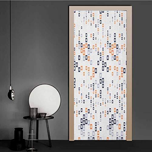 Mural 3D para puerta con tiras diagonales y rectángulos de color pastel laberinto tema estilo hipster estilo de vinilo adhesivo para puerta de tu nevera, multicolor, Multi - 09, 32 x 80 Inch