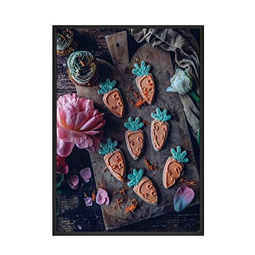 Bodegón Pastel Cartel Comida Cocina Arte de la Pared Impresión Fruta Pastel Lienzo Pintura Imagen Moderna Comedor Decoración (Sin Marco)