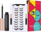 Magnetic Eyelashes with Eyeliner Kit, Upgraded 10 Pairs of Magnetic Lashes with 2 Tubes of Waterproof Magnetic Eyeliner, Magnetic Eyelashes Natural Look with Applicator