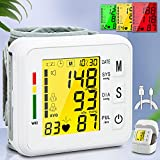 Topffy Blood Pressure Monitor,Wrist Digital BP Cuff Automatic BP Machine for Home Use 99*2 Reading Memory Large Tri-Backlit Rechargeable Pulse Rate Monitoring Meter Wrist Blood Pressure Monitor