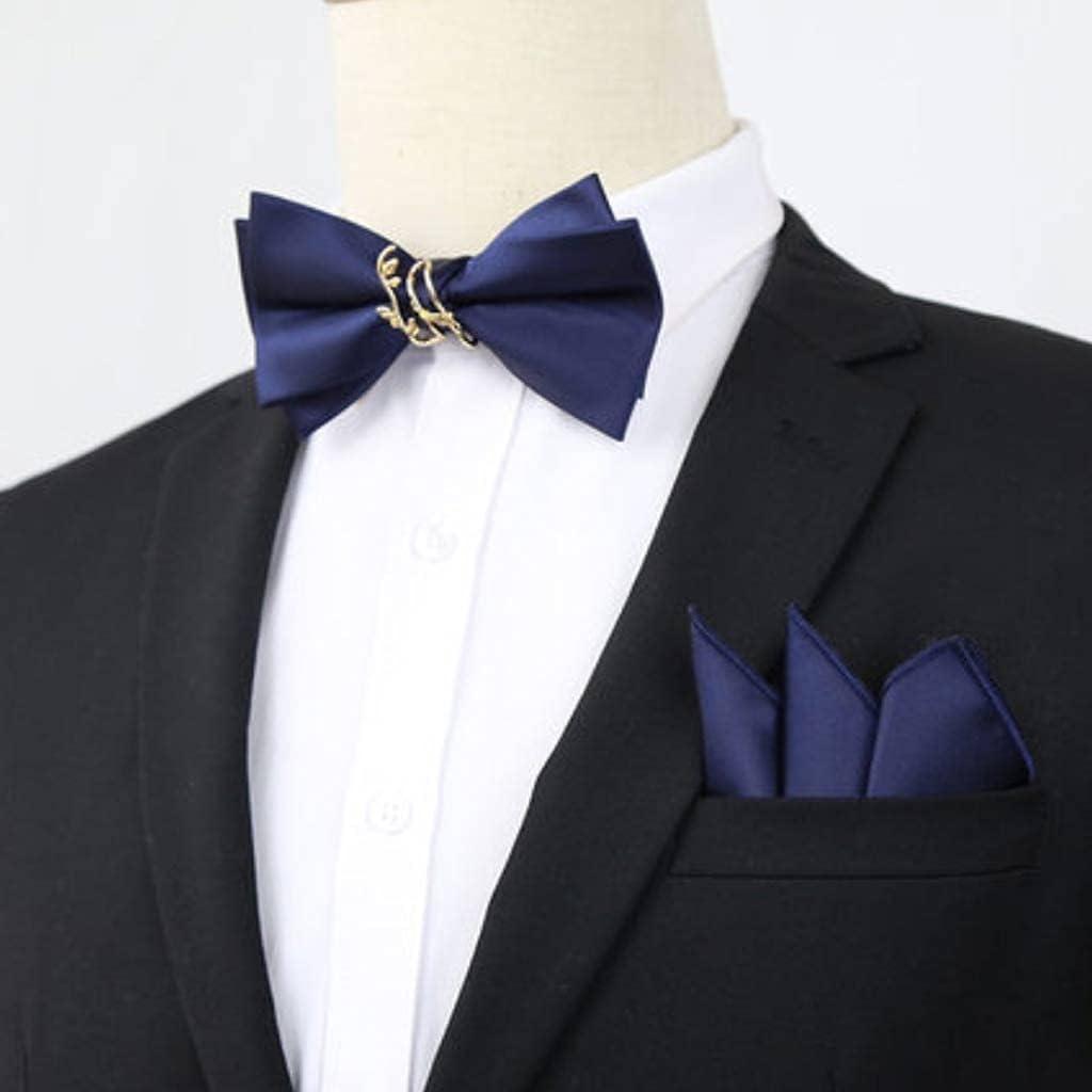 ZZABC NSLDXZPJ Pure Color Bow Tie Pocket Square Wedding Groom Wedding Best Man Trendy Men's Western Accessories Suit Bow Decoration (Color : D)