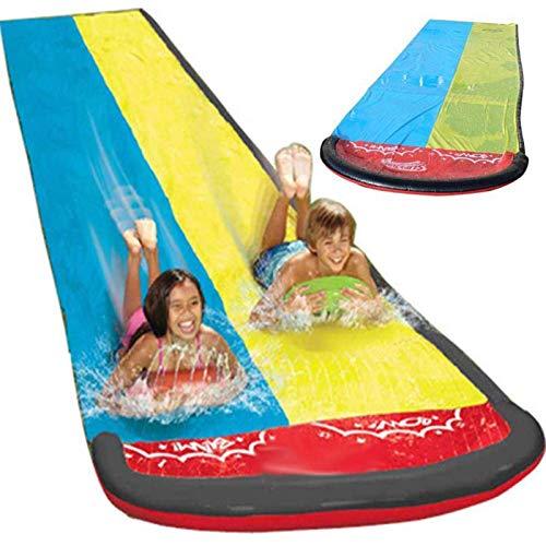MRSDBTL Backyard Water Slide For Kids Adults, Garden Racing Double Water Slides Mat, Inflatable Surfboard, Summer Spray Water Toys, Outdoor Grass Game