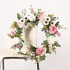 Silk Flower Arrangements Mokyler Artificial Flower Wreath, Faux Rose and Begonia Wreath Nordic Style Front Door Wreath Wall Wreath Spring Wreath Hanging Pendant for Home Wall Decor Party Decor Holiday Celebration