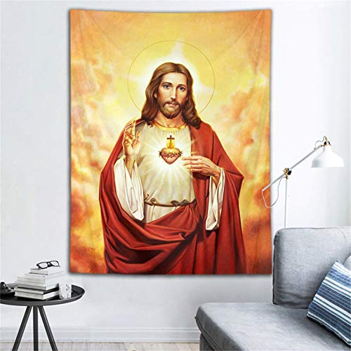 LB Jesus Tapestry Jesus Christ in Heaven Tapestry Wall Hanging Religion Christian Wall Tapestry Art Poster Decoration for Living Room Bedroom College Dorm,60x 78 Inches