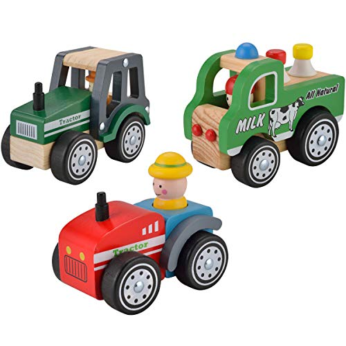 Image of Wooden Roll Cars for Toddlers 2 3 Years Old, KIDS Toyland Push and Pull Car Toys for Kids, 3PCS Baby Toys Cars Set - Tractor, Truck and Cars, Educational Learning Vehicle Toys for Girls and Boys