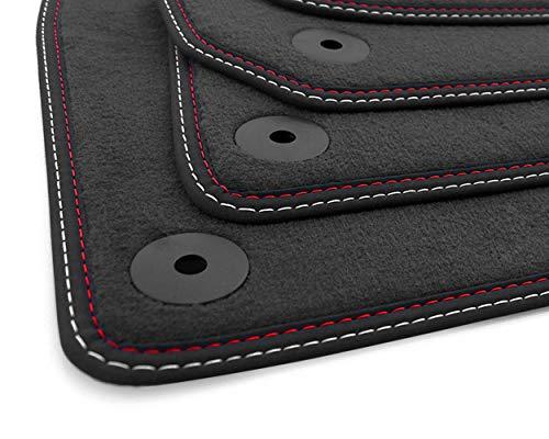 kh Teile Fußmatten A4 Cabrio B6 8H Original Premium Qualität Automatten 4-teilig Velours anthrazit Doppelnaht Rot Weiß