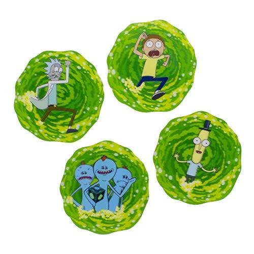 Paladone Rick and Morty 3D Drink Coasters - Set of 4 Untersätzer, Kork, Mehrfarbig, 8,6 x 9,1 cm