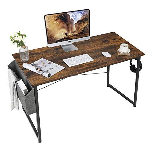 AuAg Escritorio vintage 120 x 60 cm, mesa de ordenador marrón con bolsa de almacenamiento, mesa pequeña de oficina, mesa de oficina para el hogar, la escuela, estable mesa para ordenador portátil