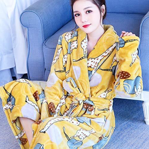 HAIBI Damen Bademantel Gelbe Giraffe Dressing Kleid Baumwolle Leichte Roben Damen V-Ausschnitt Bademantel Stricken Nachtwäsche Weiche Sleepwear, M(40,45Kg)