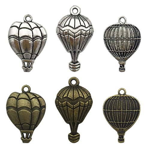 Youdiyla 60pcs Antique Silver Bronze Mixed Hot Air Balloon Charms for Jewellery Making Exquisitely Charming DIY Necklace Bracelet Earrings (HM9) Antique Hot Air Balloon