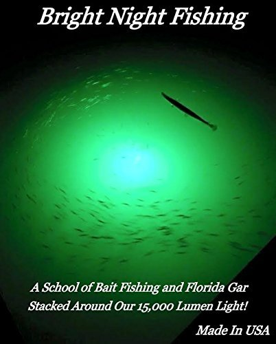 15,000 Lumen 30ft Cord Waterproof AC Underwater Fishing Light Green LED Submersible Dock Light,