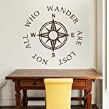 DigTour WallArt Compass Wall Decal Nautical Wall Saying Wall Lettering Words Quotes Compass Rose Wall Sticker Home Art Decoration Black