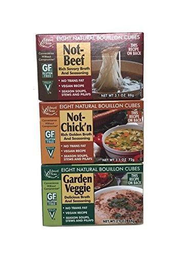 Not-Beef + Not-Chick'n + Garden Veggie Edward & Sons Bouillon Cubes, Variety Set [1 of Each]