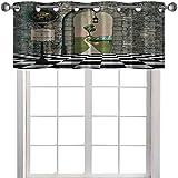 Cenefa de cortina con filtro de luz, diseño de árbol de las maravillas en blanco y negro para piso, diseño de setas, 127 x 45 cm, para sala de estar