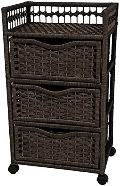 Oriental Furniture 31 Natural Fiber Chest Of Drawers On Wheels Black
