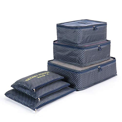 6 Set de Organizador de Equipaje, Impermeable Organizador de Maleta Bolsa para Ropa Sucia de Viaje, Material Nylon(Blue Star)