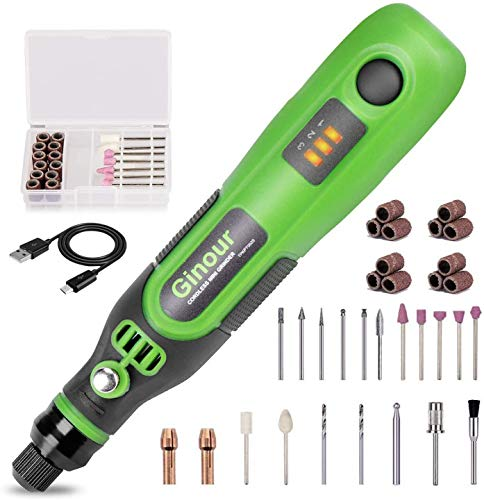 Cordless Rotary Tool, Ginour 3.7V Mini Power Rotary Tool, 32pcs Accessories Kit, 3-Speed and USB Charging Multipurpose for Cutting, Polishing, Sanding, Crafting and Nails