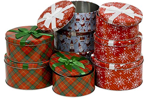 Christmas Cookie Tins Nesting Boxes, candy, party favor or other gifts, round nested, strong metal lid with attached Ribbon, 3 sets of Large Medium & Small, 9 tins included (Santa & More)